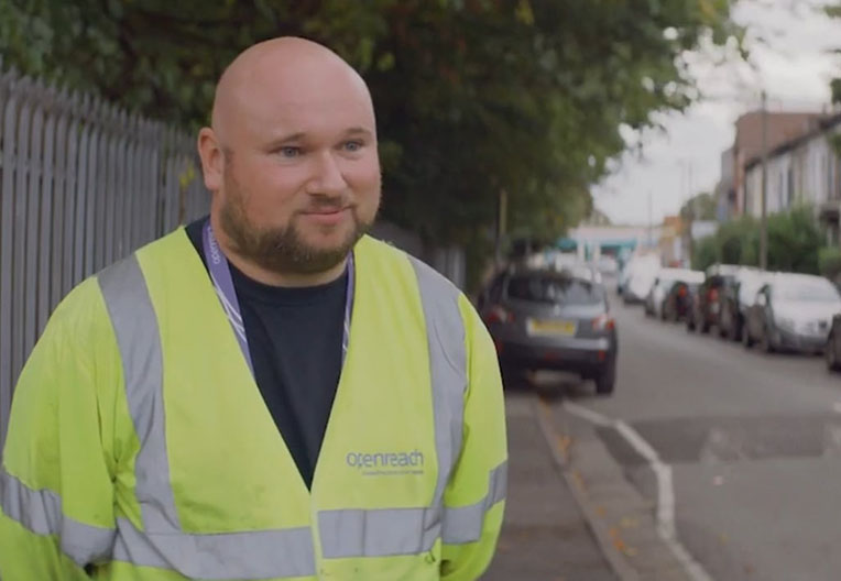 Image of video on trainee Openreach engineer Andy
