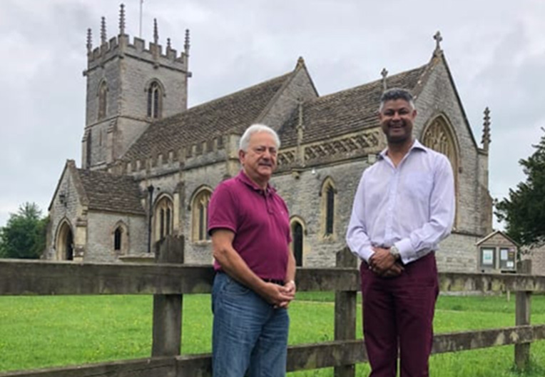 Image of Lydford-on-Fosse residents by their local church