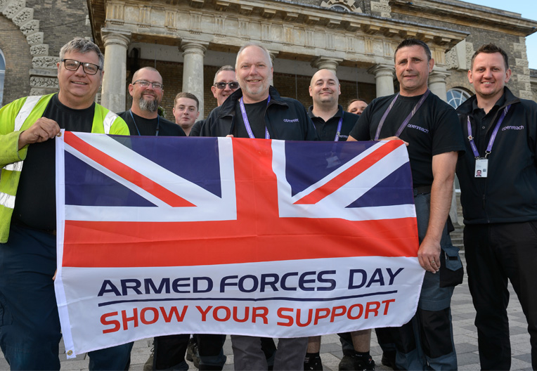 Image of Openreach engineers celebrating Armed Forces Day