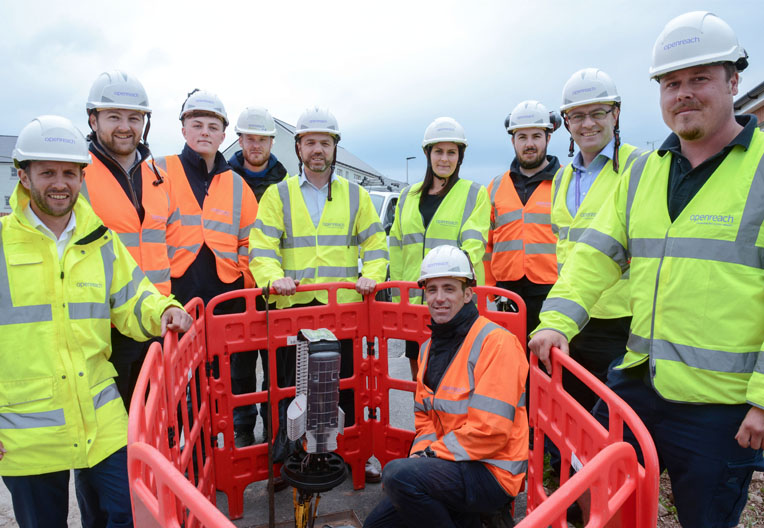 Image of Openreach engineers on the job with MP Stephen Crabb