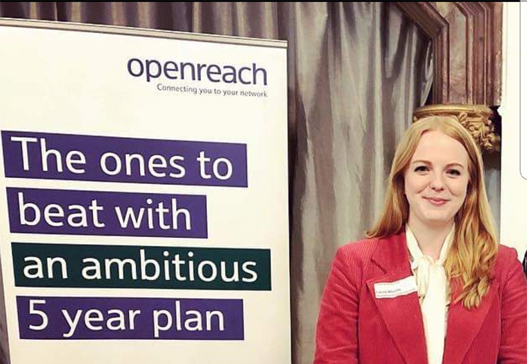 Image of Laura at a girls school career day to discuss Openreach and STEM careers
