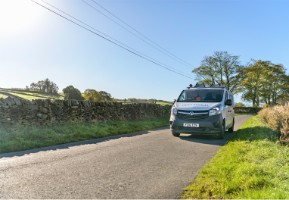 Openreach van on a country road