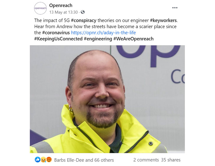Facebook post about the impact of 5G conspiracy theories on Openreach keyworker engineers