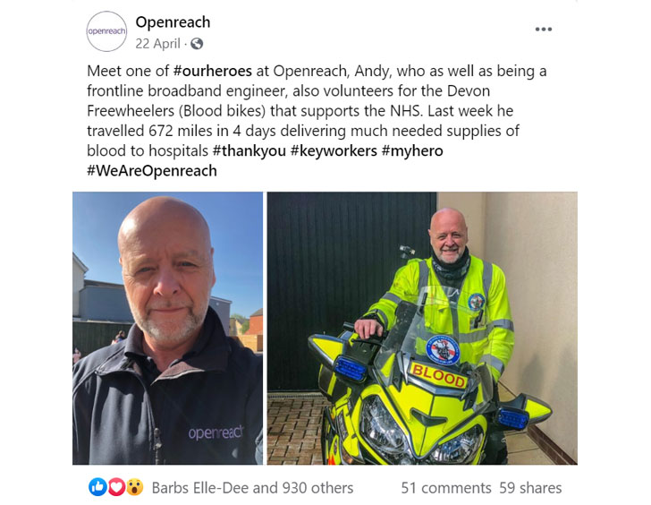 Facebook post about broadband engineer who also volunteers for Devon Freewheelers